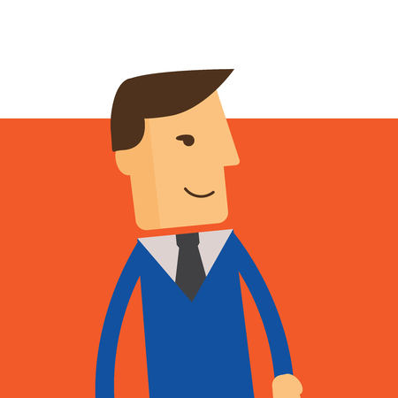 Businessman or manager. Illustration of business plan. A man in a suit shows a business plan. Vector