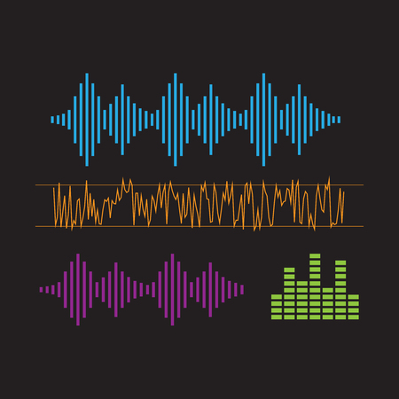 Sound Waveforms. Sound waves and musical icons