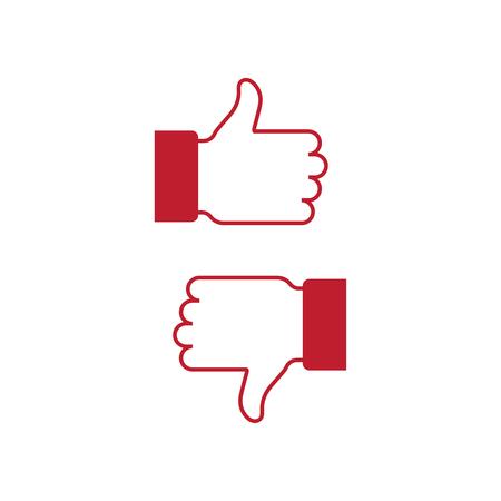 Like and dislike icon, flat design vector  イラスト・ベクター素材