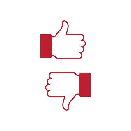 Like and dislike icon, flat design vector 矢量图像