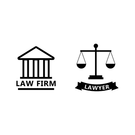 Set of black and white law and justice icons