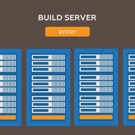 Data center and hosting vector banners set. Network internet database eps10 Illustration