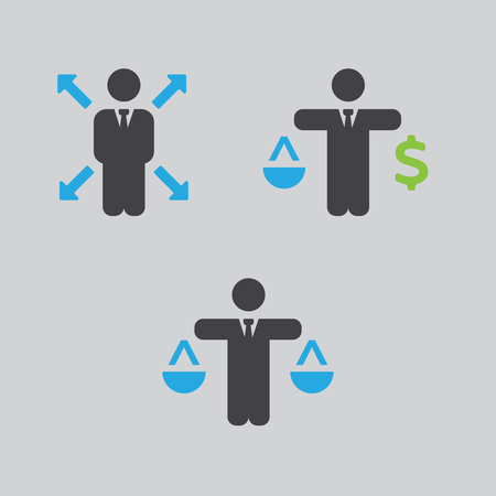 flexible business: Business Policies Icons illustration flat style