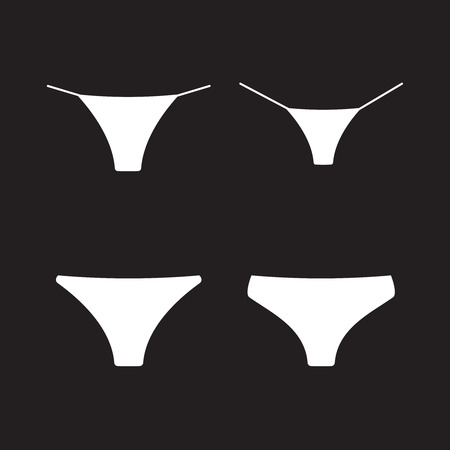 Female panties types icons. String and thong set Ilustração