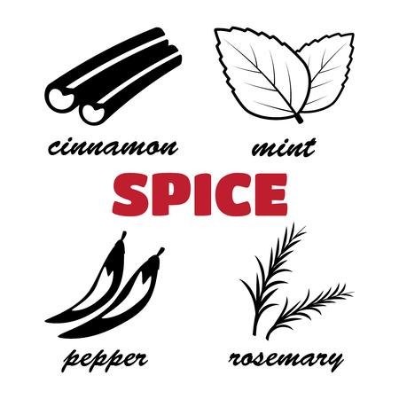 Spice icons logo set. Cooking, fresh natural ingredient. Spice logo Illustration
