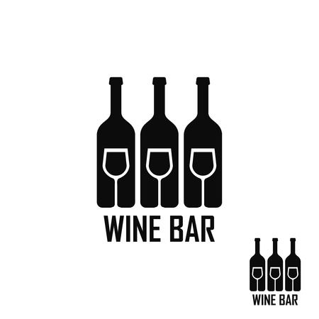 Logo for bar, restaurant, alcohol, wine Wine logo set Illustration