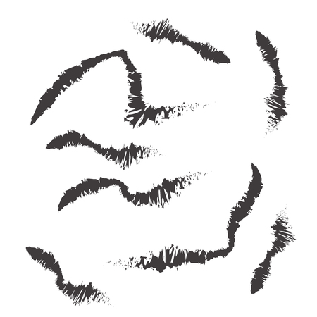 Vector black mascara brush trace strokes