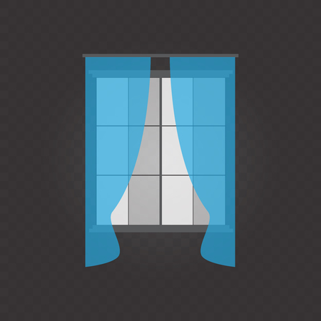 Waving curtains for the window decoration on transparent background