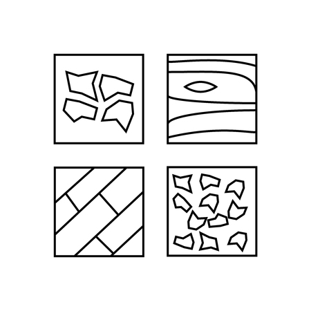 Set of floor material line icons