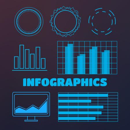 Futuristic user interface elements vector set