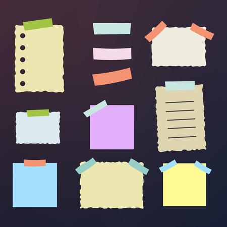 Papiers collants avec page de feuille de bandes adhésives sellotape pour le message de rappel Banque d'images - 80687450