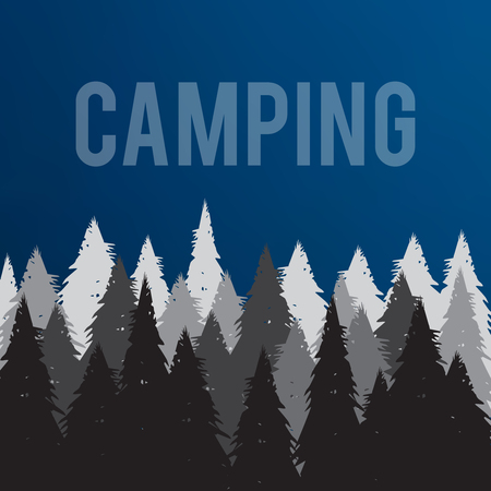 Forest camping vector illustration