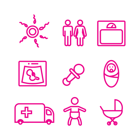 childbirth: Medicine and pregnancy vector icons