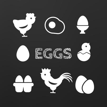 chick: Set of egg black icons isolated breakfast, animal chicken Illustration
