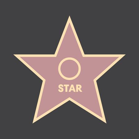 Walk of fame star with emblems symbolize five categories