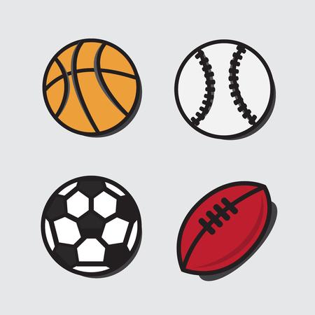 Sports balls. Vector cartoon ball set for soccer, rugby. Basketball and football balls