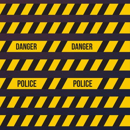 Ruban d'avertissement en plastique jaune de vecteur ou ensemble de bande d'avertissement.