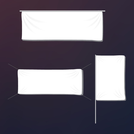 White textile banners with folds template set.