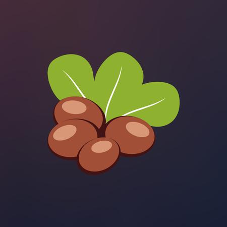 緑の葉とシアーの実ベクトル イラストです。