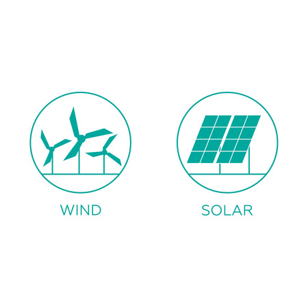 Power plant icons. Electricity generation sources.