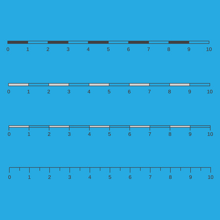 Metric imperial and decimal inch rulers vector set.