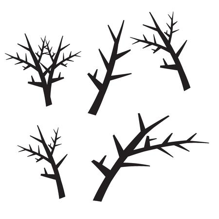 枯れ木のシルエット。ブラック怖い木フォレスト ベクトル図を死にかけています。