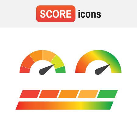 guage score credit. Credit score indicators and gauges vector