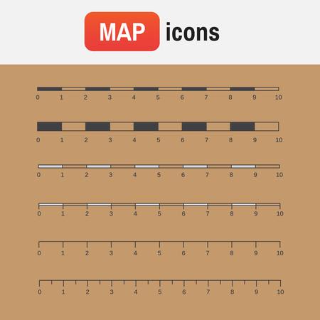 scale measure map. Vector map scales graphics for measuring distances Illusztráció