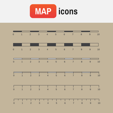 scale measure map. Vector map scales graphics for measuring distances Illustration