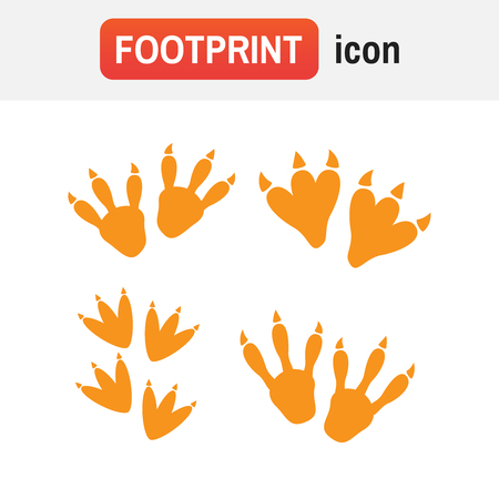 Dinosaur footprint vector. Dinosaur footprint tracks vector set illustration