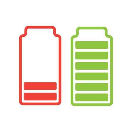 Battery Capacityillustration; full battery and low battery illustration. Çizim