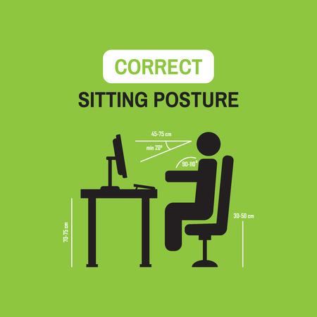 Factores ergonómicos de la postura; posición de sentado correcta delante de la computadora Ilustración de vector