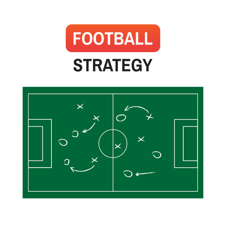 Football or soccer game strategy plan illustration. Ilustração