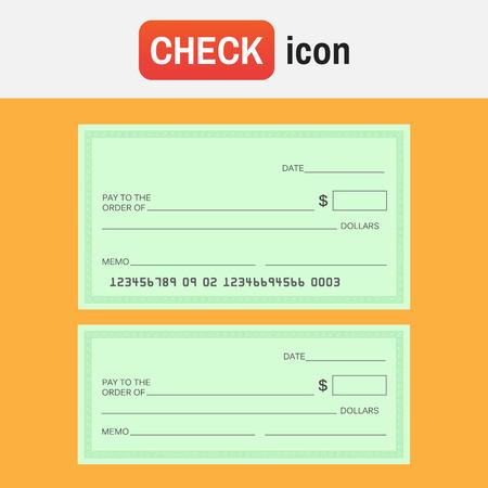 Set of blank bank check paper on orange background.