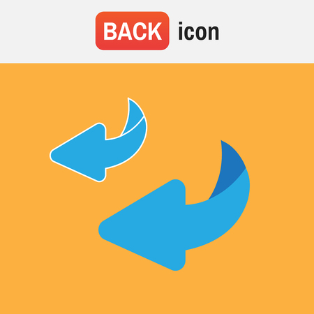 Illustration of flip over or turn back icon.