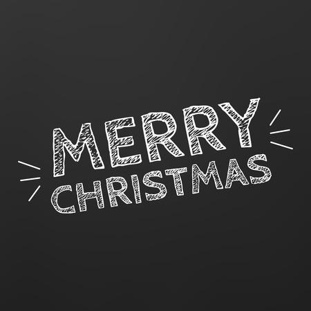 Retro Merry Christmas balck Card vector illustration