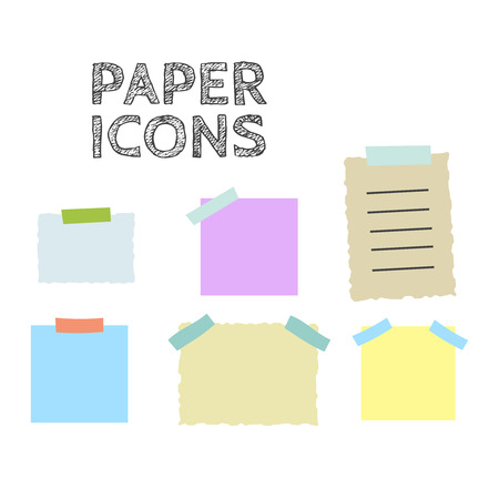 Colorful sticky paper notes vector illustration set