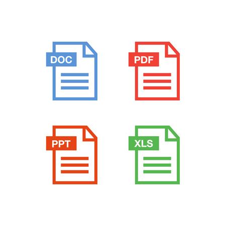 ドキュメント アイコンを設定。ファイル アイコン。PDF ファイルのダウンロード アイコン