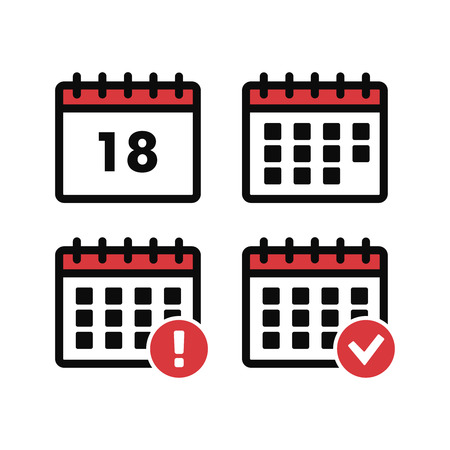 Vector Calendar Icons. Event add delete progress