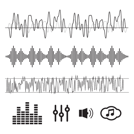 Sound waves concept. Sound waves vector. Sound waves sign and sy Vettoriali