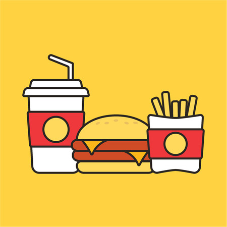 Fast food snacks and drinks flat vector icons.  Snack bag  food Illustration