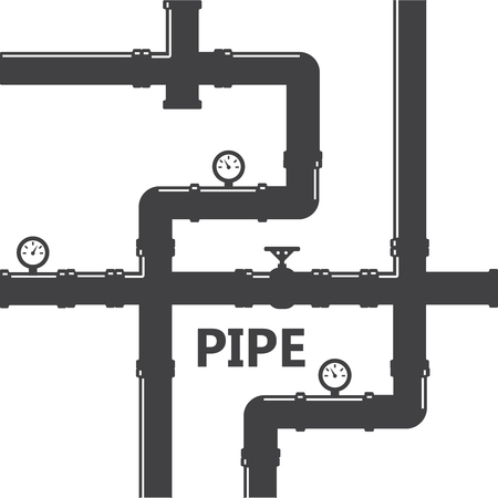 Pipe fittings vector icons set. Tube industry, construction pipeline, drain system. water Pipeline Illustration