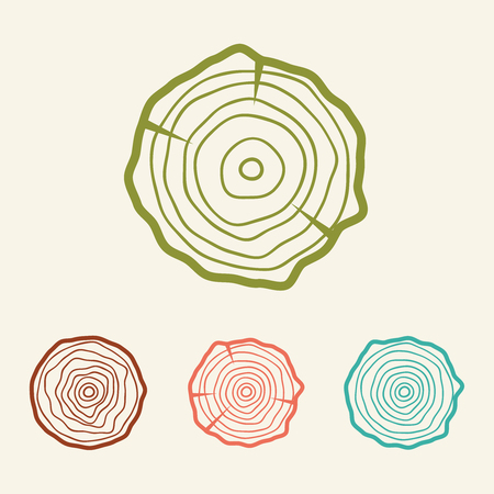 Tree rings icons vector illustration. Abstract age annual. Circle tree background