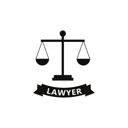 Lawyer icons in flat style. Illustration