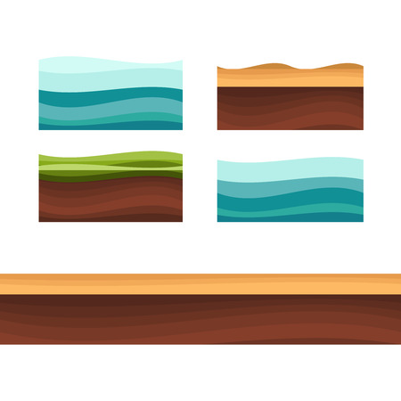 Grounds, soil and grass layer illustration.