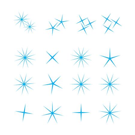 Sparkle lights stars set. Bright firework, decoration twinkle, shiny flash.