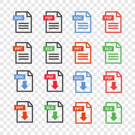 ファイルアイコン。ドキュメント アイコンセット。ファイル アイコン ライン スタイルのイラスト。  イラスト・ベクター素材