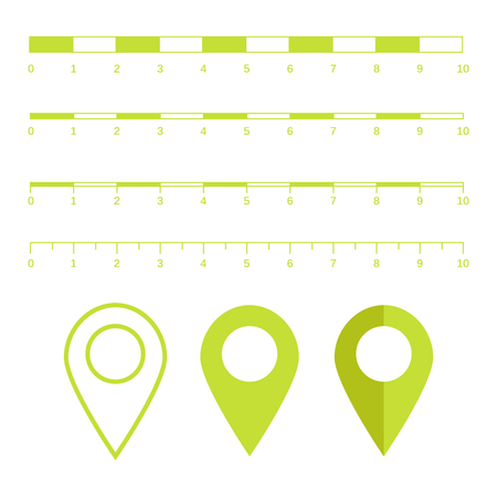 Map scales graphics for measuring distances. Scale measure map vector. Latitude and longitude distance Illustration
