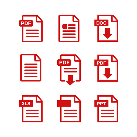 Document icon set. Illustration
