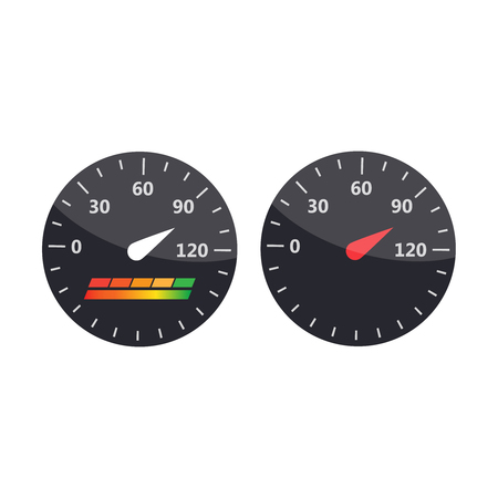 Credit score indicators and gauges vector set.